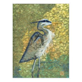 Blue Heron on Green Postcard
