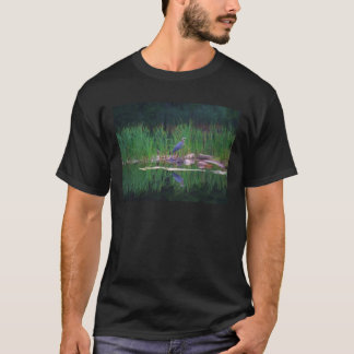 Blue Heron Reflections Animal Painting T Shirt