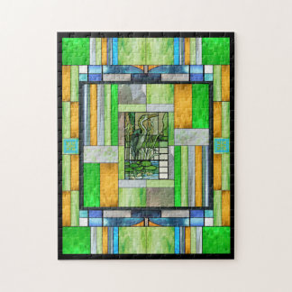 Blue Heron Stained Glass Jigsaw Puzzle