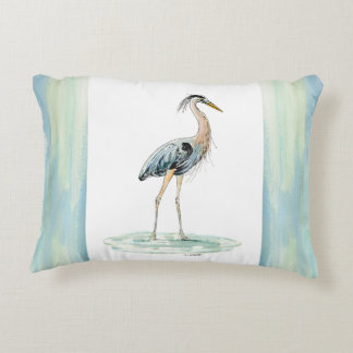 Blue Heron watercolor Decorative Cushion