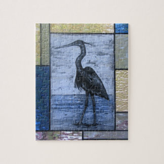Blue Heron with Blues Jigsaw Puzzle