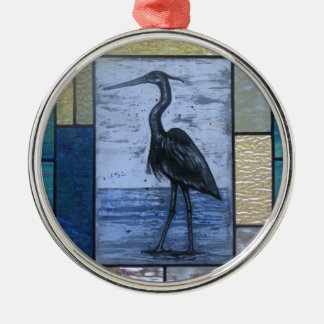 Blue Heron with Blues Metal Ornament