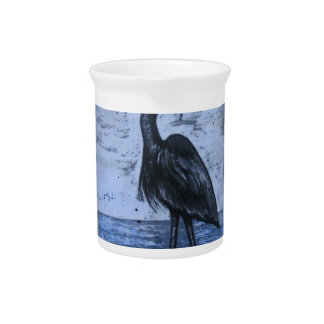 Blue Heron with Blues Pitcher