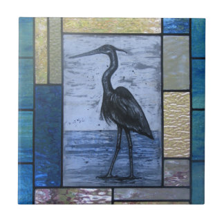 Blue Heron with Blues Tile