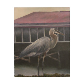 BLUE HERON Wood Wall Art