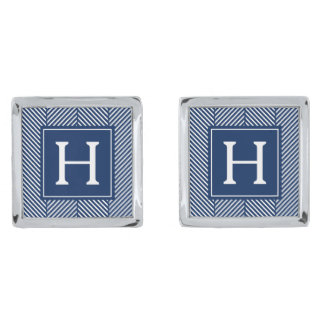 Blue Herringbone Pattern Monogram Silver Finish Cufflinks