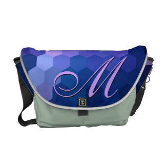 Blue Hexagon Chevron Pattern and Monogram Courier Bags
