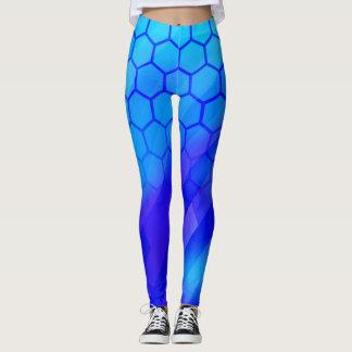 Blue hexagon leggings
