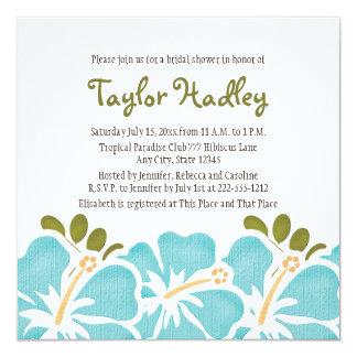 Blue Hibiscus Bridal Shower Invitations