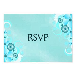 Blue Hibiscus Elegant Custom RSVP Response Cards Personalized Announcement