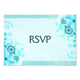 Blue Hibiscus Elegant Custom RSVP Response Cards Invites