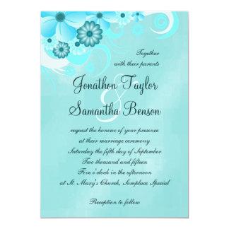 Blue Hibiscus Floral Custom Wedding Invitation Invites