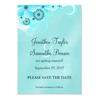 Blue Hibiscus Floral Save The Date Announcements Custom Invite