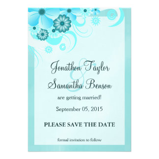 Blue Hibiscus Floral Save The Date Announcements Invitation