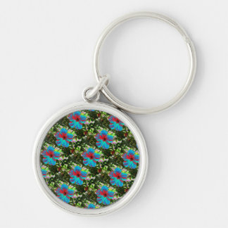 Blue Hibiscus Floral Tropical Keyring Silver-Colored Round Key Ring