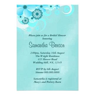 Blue Hibiscus Floral Wedding Bridal Shower Invites Custom Invitation