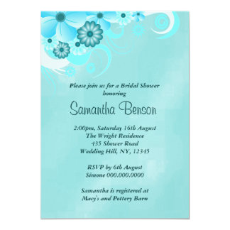 "Blue Hibiscus Floral Wedding Bridal Shower Invites 5"" X 7"" Invitation Card"