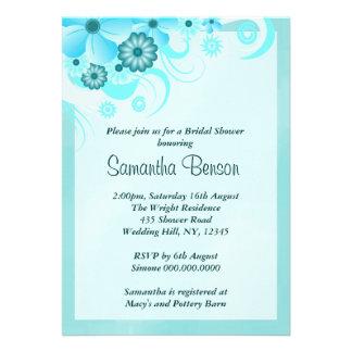 Blue Hibiscus Floral Wedding Bridal Shower Invites Invites
