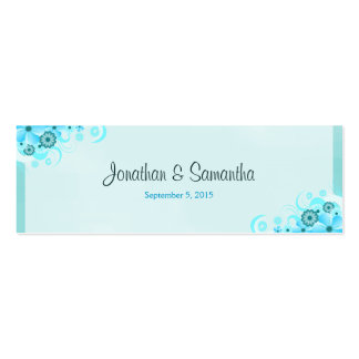 Blue Hibiscus Floral Wedding Favor Favour Tags Double-Sided Mini Business Cards (Pack Of 20)