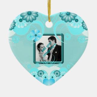 Blue Hibiscus Floral Wedding Keepsake Ornaments Christmas Ornaments