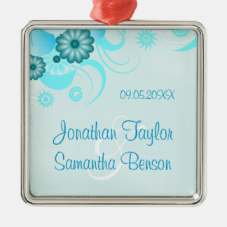 Blue Hibiscus Floral Wedding Keepsake Ornaments Christmas Tree Ornament