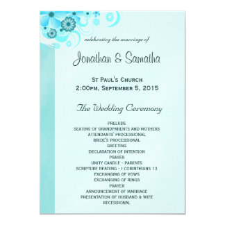 Blue Hibiscus Floral Wedding Program Templates 13 Cm X 18 Cm Invitation Card