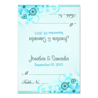 Blue Hibiscus Floral Wedding Table Place Cards Invite
