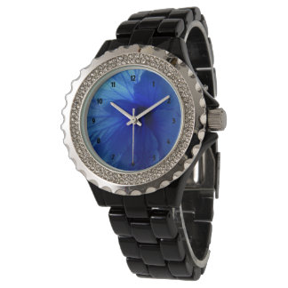 Blue Hibiscus Flower Rhinestone Black Enamel Watch