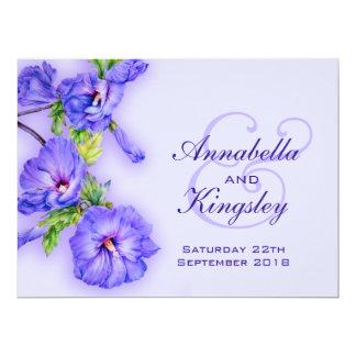 Blue hibiscus flower wedding invitation
