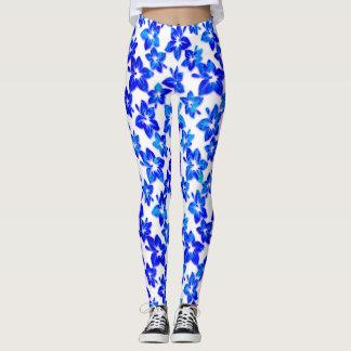 blue hibiscus - leggings
