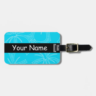 Blue Hibiscus lines Luggage Tag