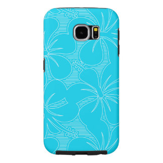 Blue Hibiscus lines Samsung Galaxy S6 Cases