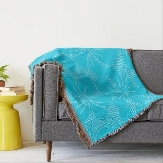 Blue Hibiscus lines Throw Blanket