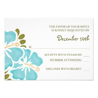 BLUE HIBISCUS RSVP WEDDING RESPONSE CARDS