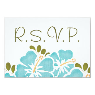 BLUE HIBISCUS RSVP WEDDING RESPONSE CARDS PERSONALIZED INVITE