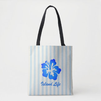 Blue Hibiscus Striped Summer Tote Bag
