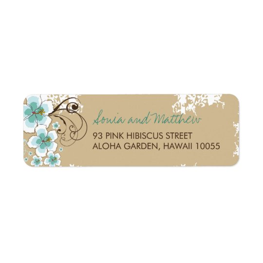 Blue Hibiscus Tropical Beach Wedding Address Label