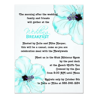 Blue Hibiscus Wedding Breakfast Invitation