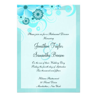 Blue Hibiscus Wedding Rehearsal Dinner Invites Personalized Announcement