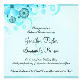 "Blue Hibiscus Wedding Rehearsal Dinner Invites 5.25"" Square Invitation Card"