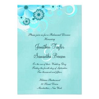 Blue Hibiscus Wedding Rehearsal Dinner Invites Personalized Invitations