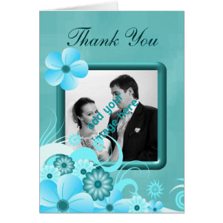 Blue Hibiscus Wedding Thank You Photo Note Cards