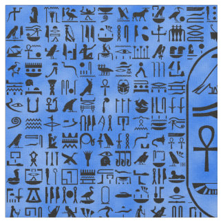 Blue Hieroglyphics Fabric