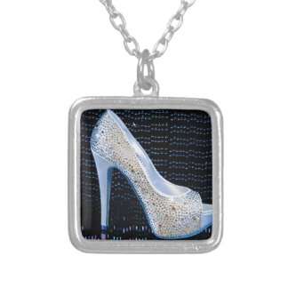Blue High Heel Square Pendant Necklace