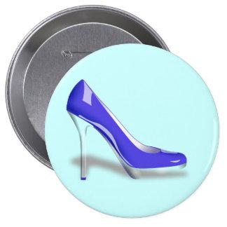 Blue High Heel Shoe Round Button