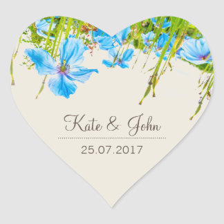 Blue Himalayan Poppy, personalized wedding sticker