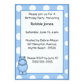 Blue Hippo Birthday Invitation