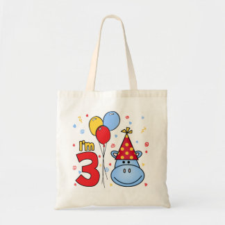 Blue Hippo Face 3rd Birthday Tote Bag