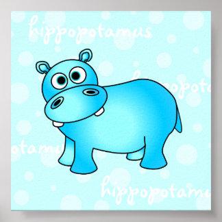 Blue Hippopotamus Poster / Print Nursery Wall Art