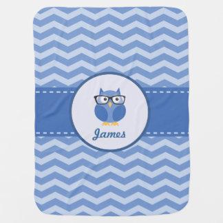Blue Hipster Owl Baby Blanket